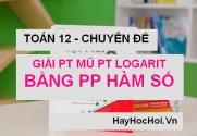 Giải phương trình Mũ và Logarit bằng phương pháp hàm số - Toán 12 chuyên đề